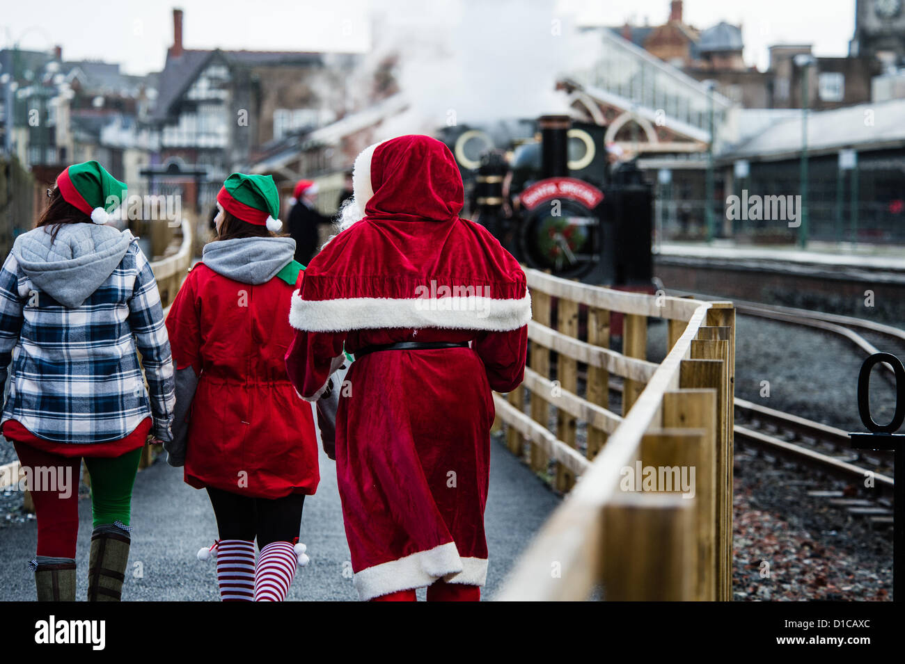 "Aberystwyth, Wales, UK, December 15 2012,  ""The Santa Special"" narrow guage Vale of Rheidol steam train leavingStock Photo"