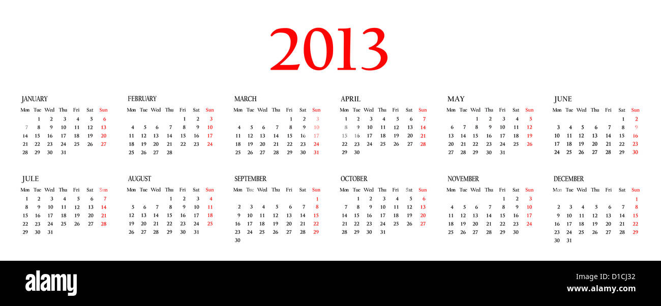 Calendar 2013 Template For Your Design On White Background Stock