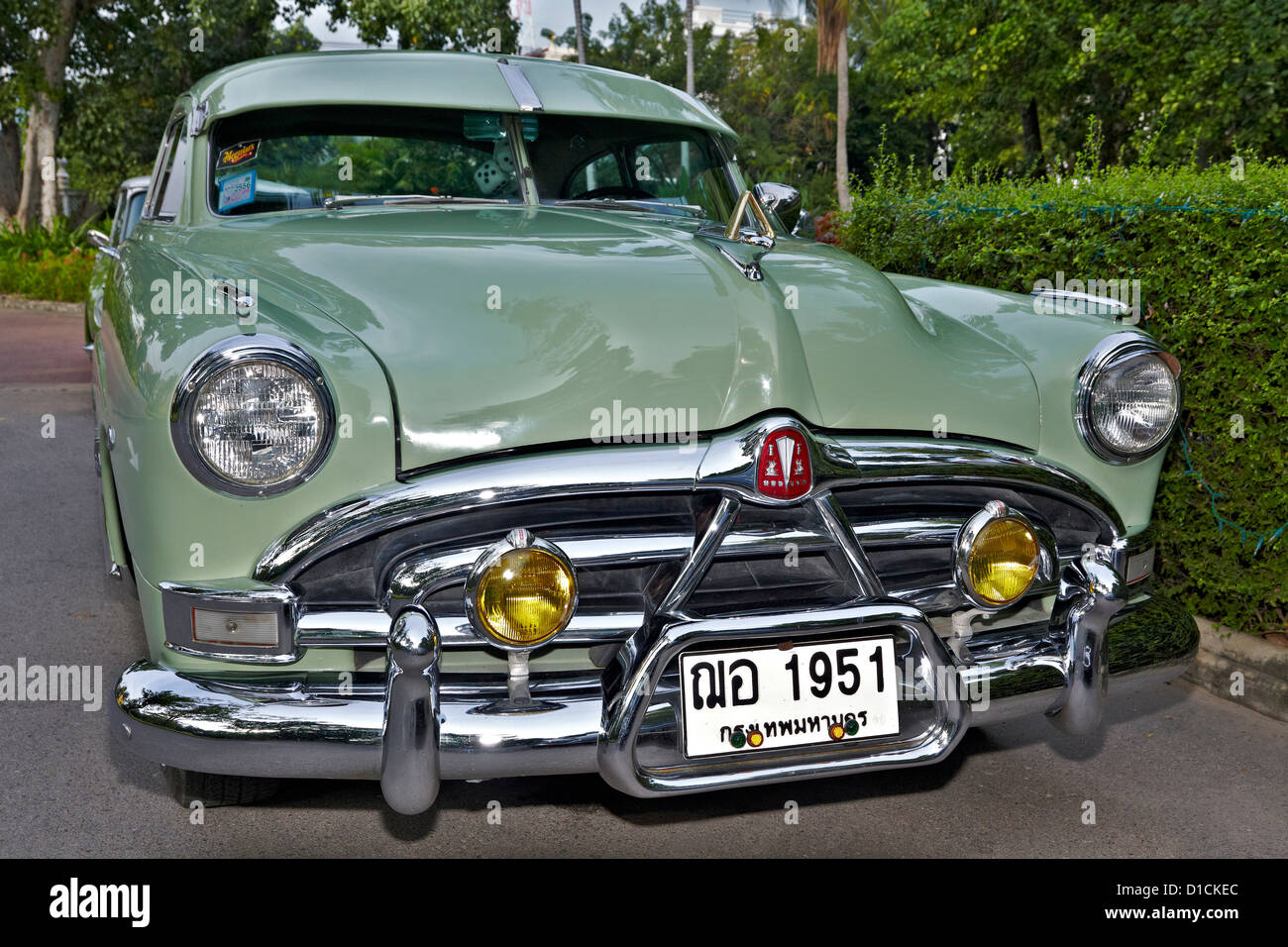 1951 Hudson Hornet American vintage car. Front view. Appropriate ...