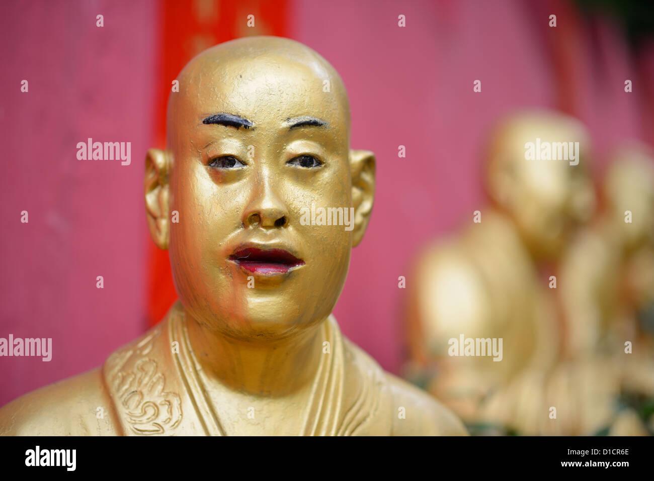 october 14: Statues sat Ten Thousand Buddhas Monastery in Sha Tin, Hong Kong, China. - Stock Image