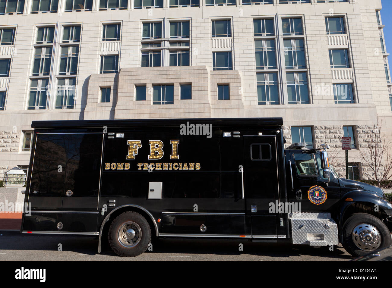 FBI Bomb Technician truck parked in front of FBI Field Office - Washington, DC USA - Stock Image