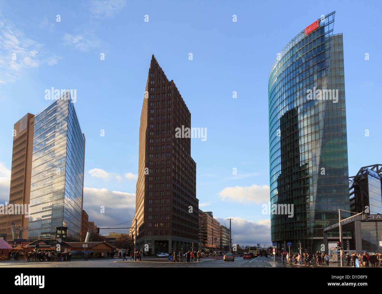 Modern buildings and DB building in former east German death strip at Potsdamer Platz, Berlin, Germany - Stock Image