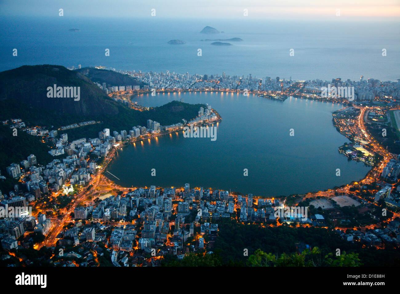 View of Lagoa Rodrigo de Freitas lake, Rio de Janeiro, Brazil, South America - Stock Image