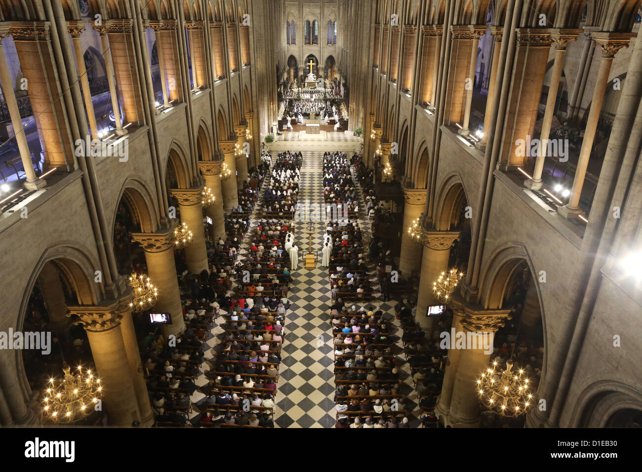 Mass in Notre Dame Cathedral, Paris, France, Europe - Stock Image