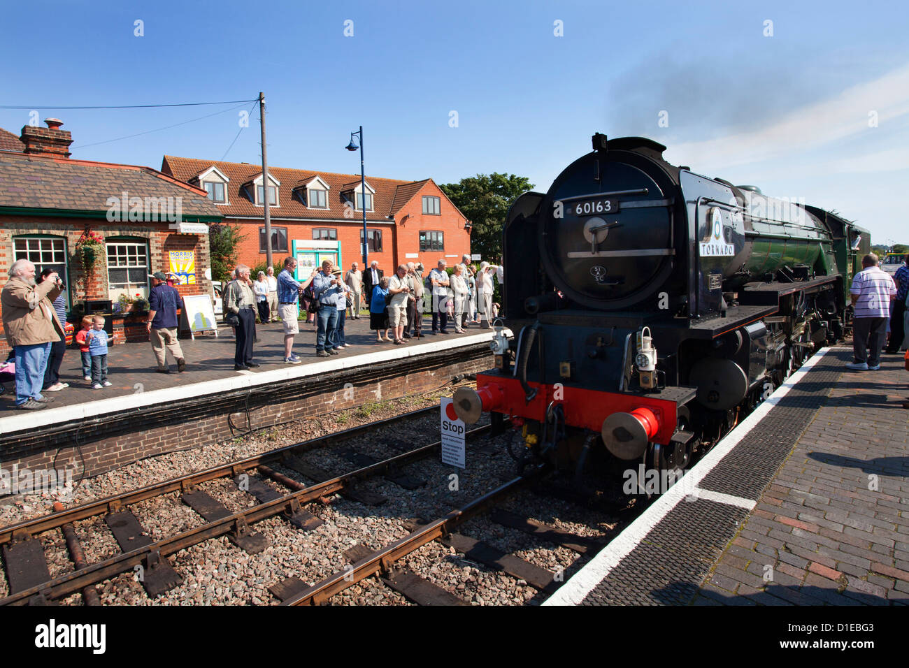 Pacfic Class Steam Locomotive Tornado visiting Sheringham on the Poppy Line, North Norfolk Railway, Norfolk, England - Stock Image