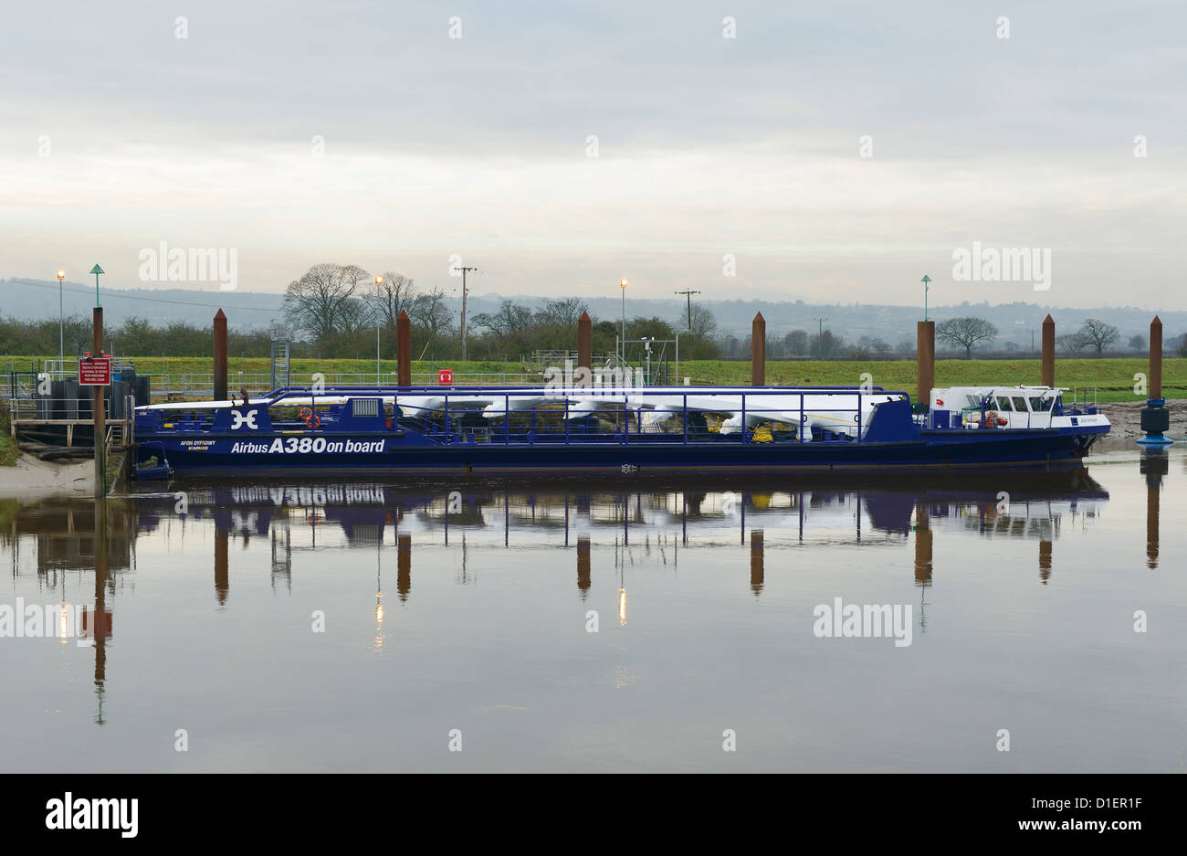 The Airbus A380 wing barge moored near the Broughton factory - Stock Image