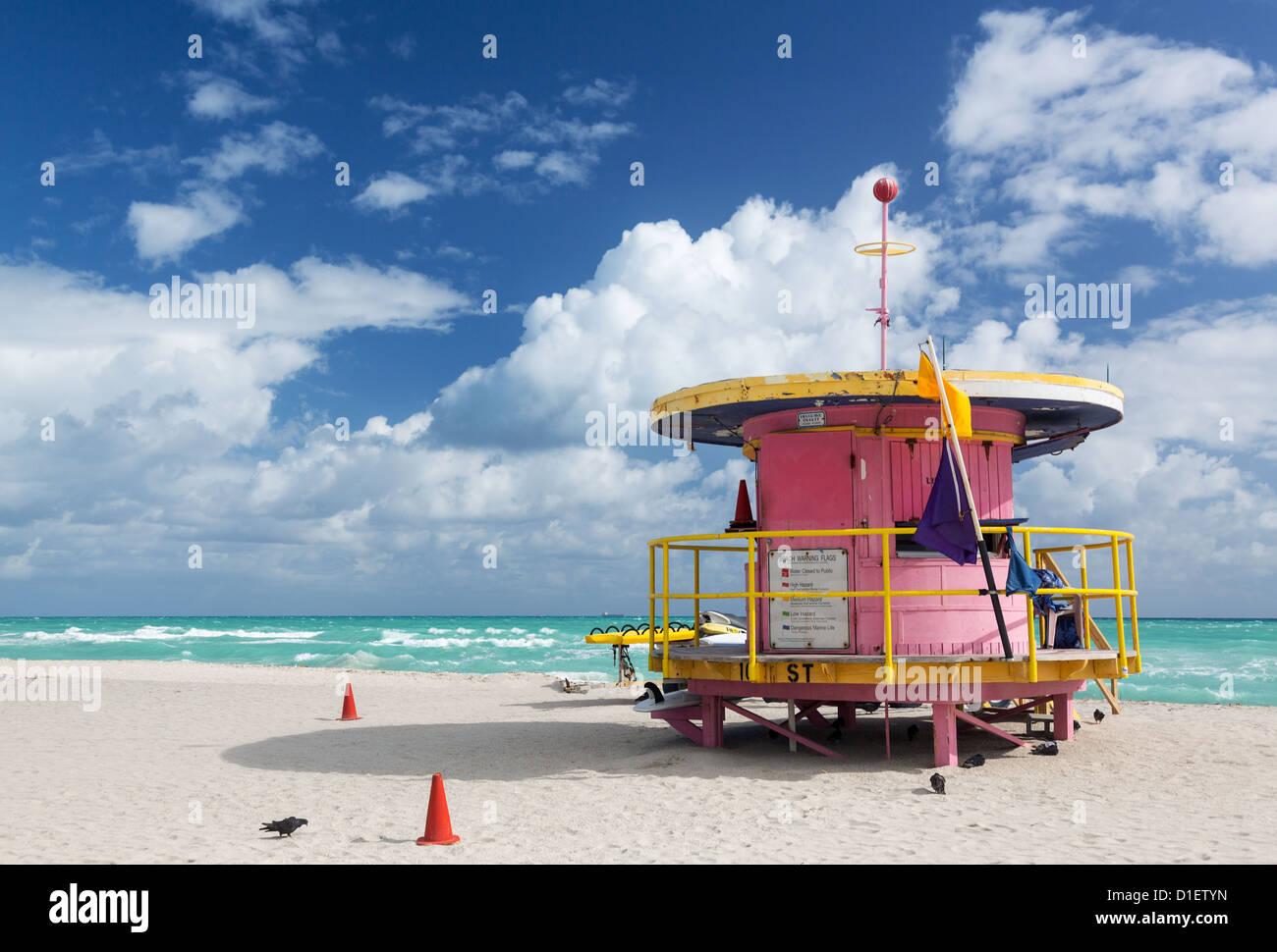 Miami beach, Florida, USA - lifeguard station - Stock Image
