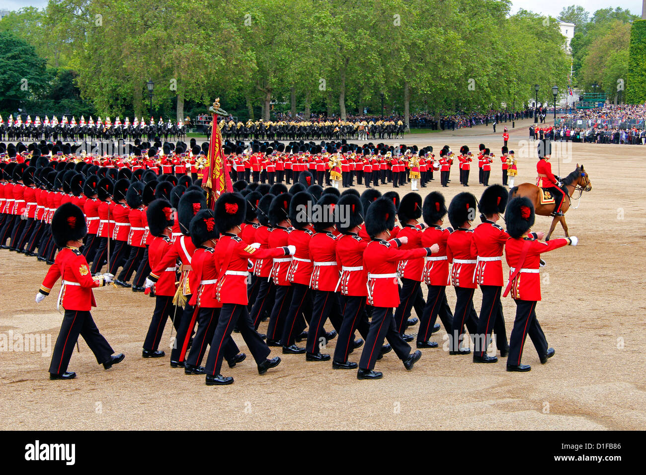 Soldiers at Trooping the Colour 2012, The Queen's Official Birthday Parade, Horse Guards, Whitehall, London, - Stock Image