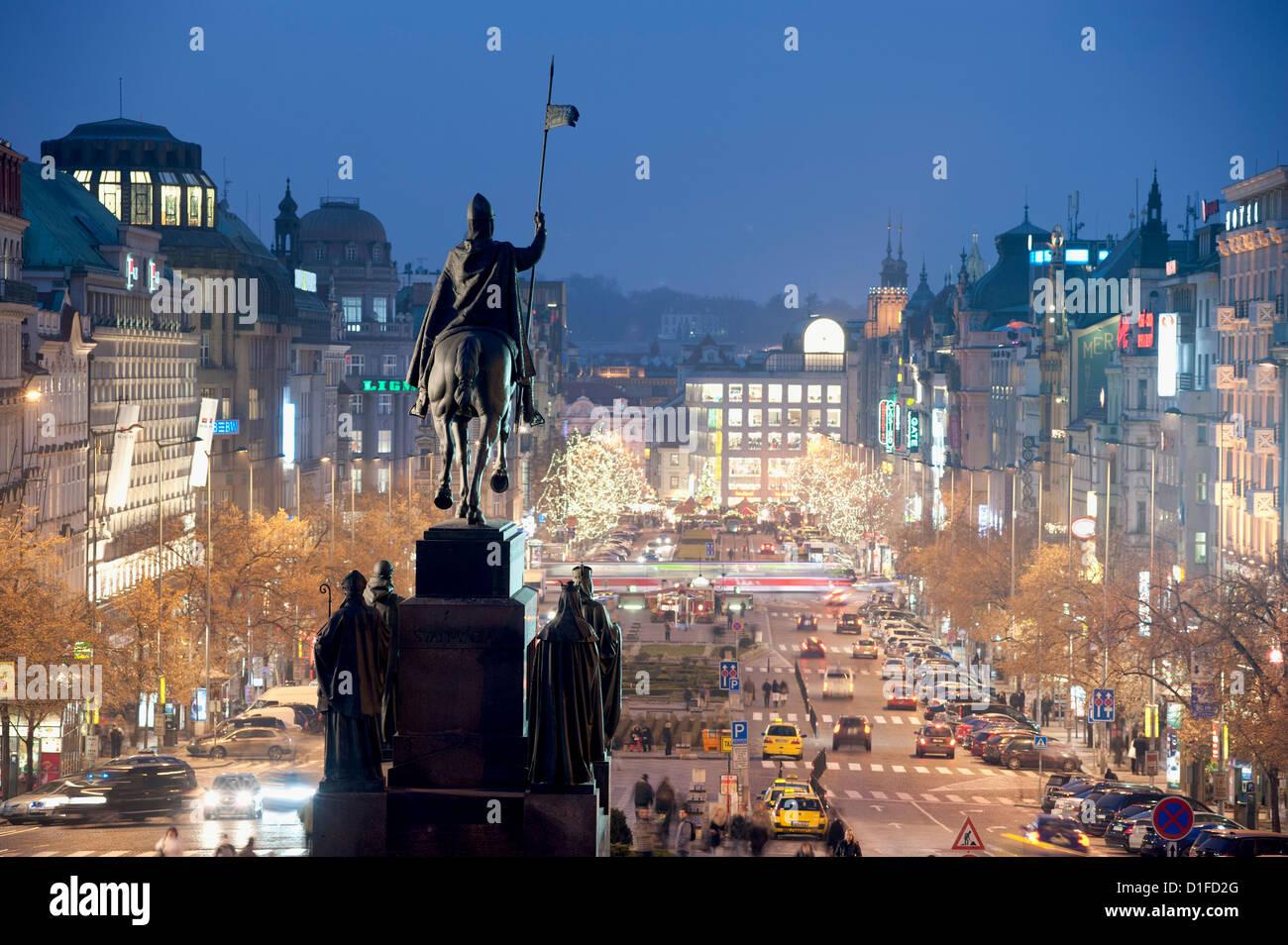 Statue of St. Wenceslas and Wenceslas Square at twilight, Nove Mesto, Prague, Czech Republic, Europe - Stock Image