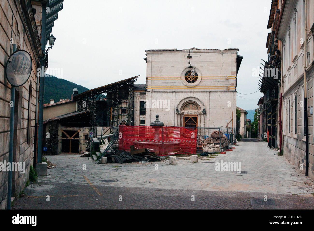 La Misericordia showing the destruction of the 2009 eathquake, Aquila, Abruzzi, Italy, Europe - Stock Image