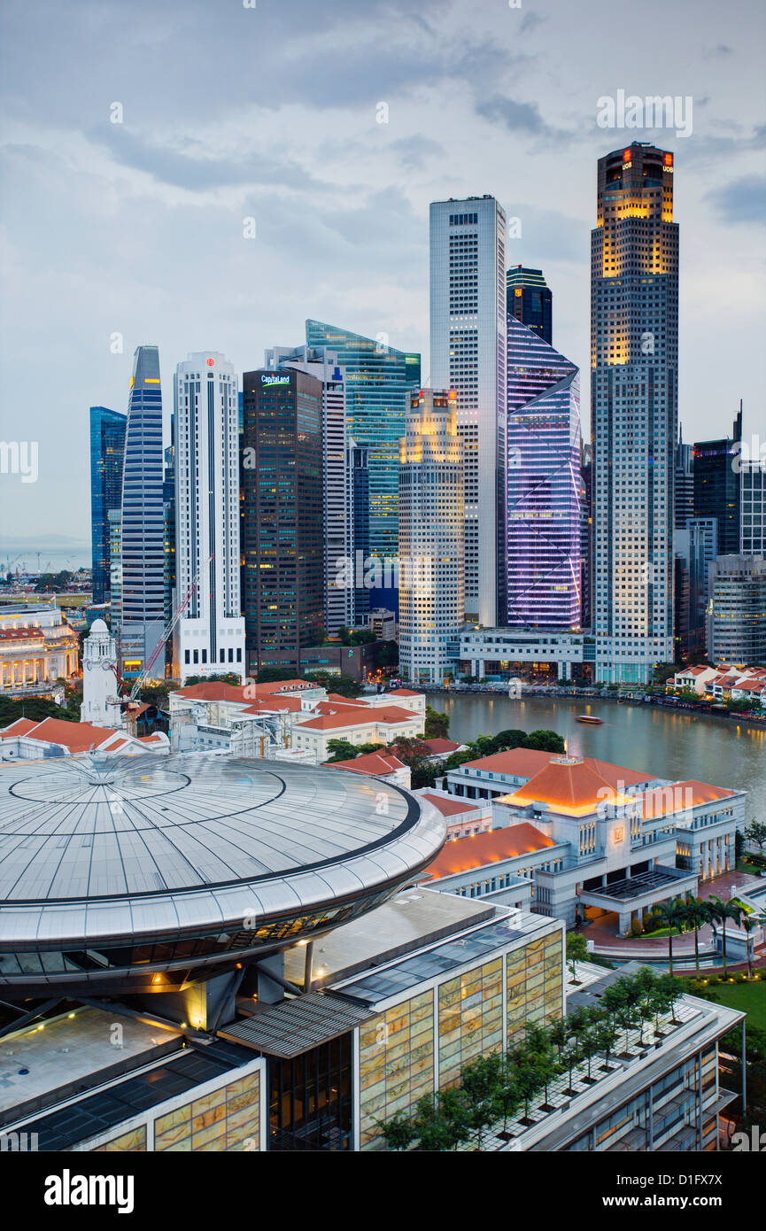 Skyline and Financial district at dawn, Singapore, Southeast Asia, Asia - Stock Image