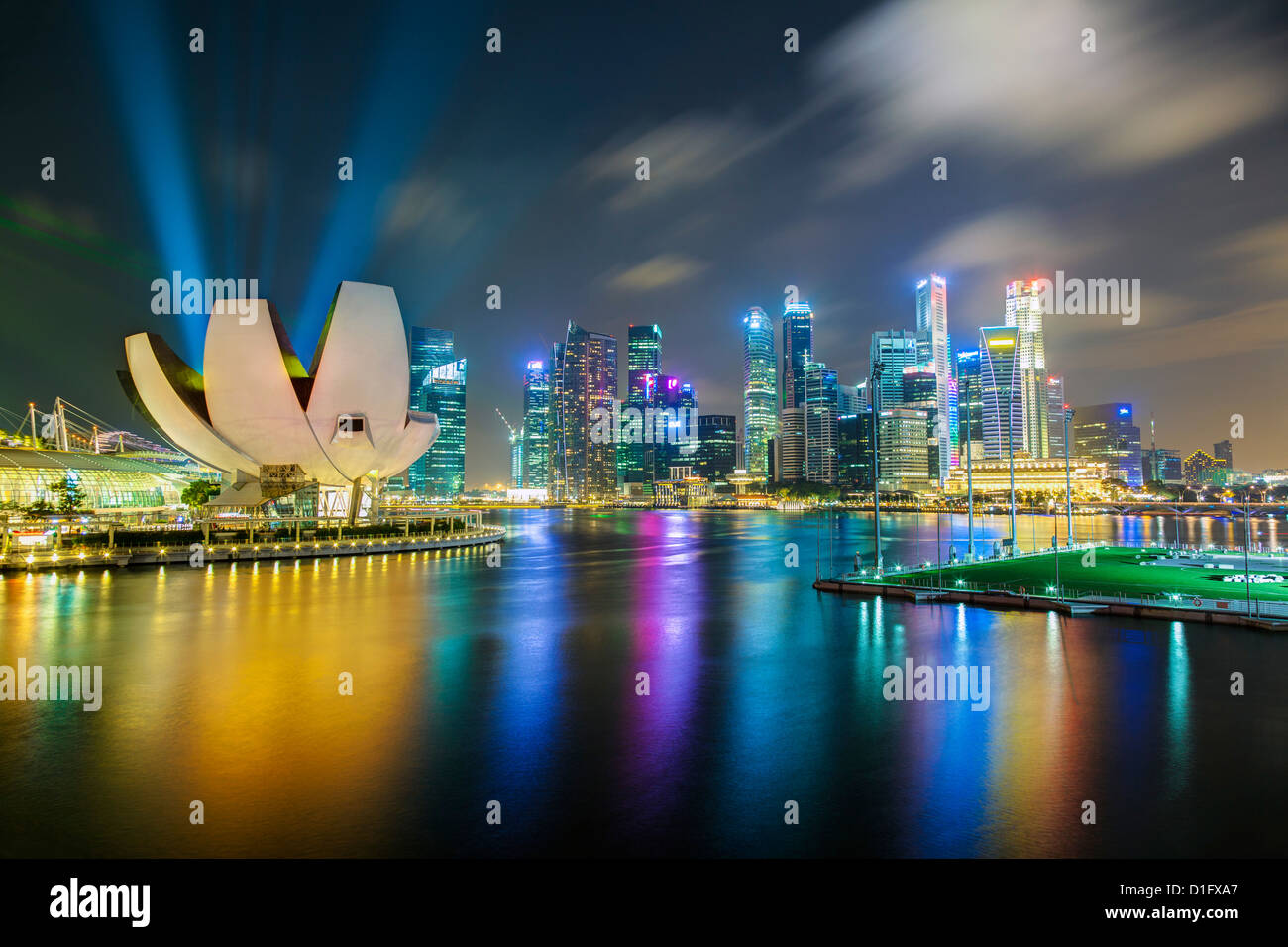 Art Science Museum and city skyline from Marina Bay, Singapore, Southeast Asia, Asia - Stock Image