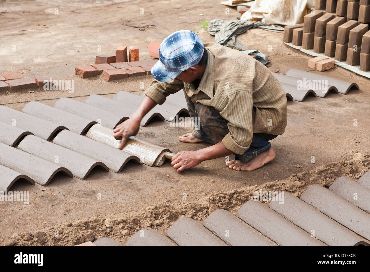 Clay brick and tile factory outside Antigua, Guatemala, Central America - Stock Image