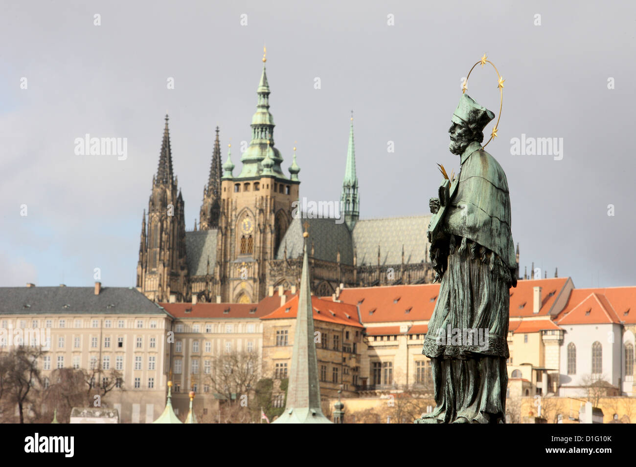John of Nepomuk Statue on Charles bridge, UNESCO World Heritage Site, Prague, Czech Republic, Europe - Stock Image