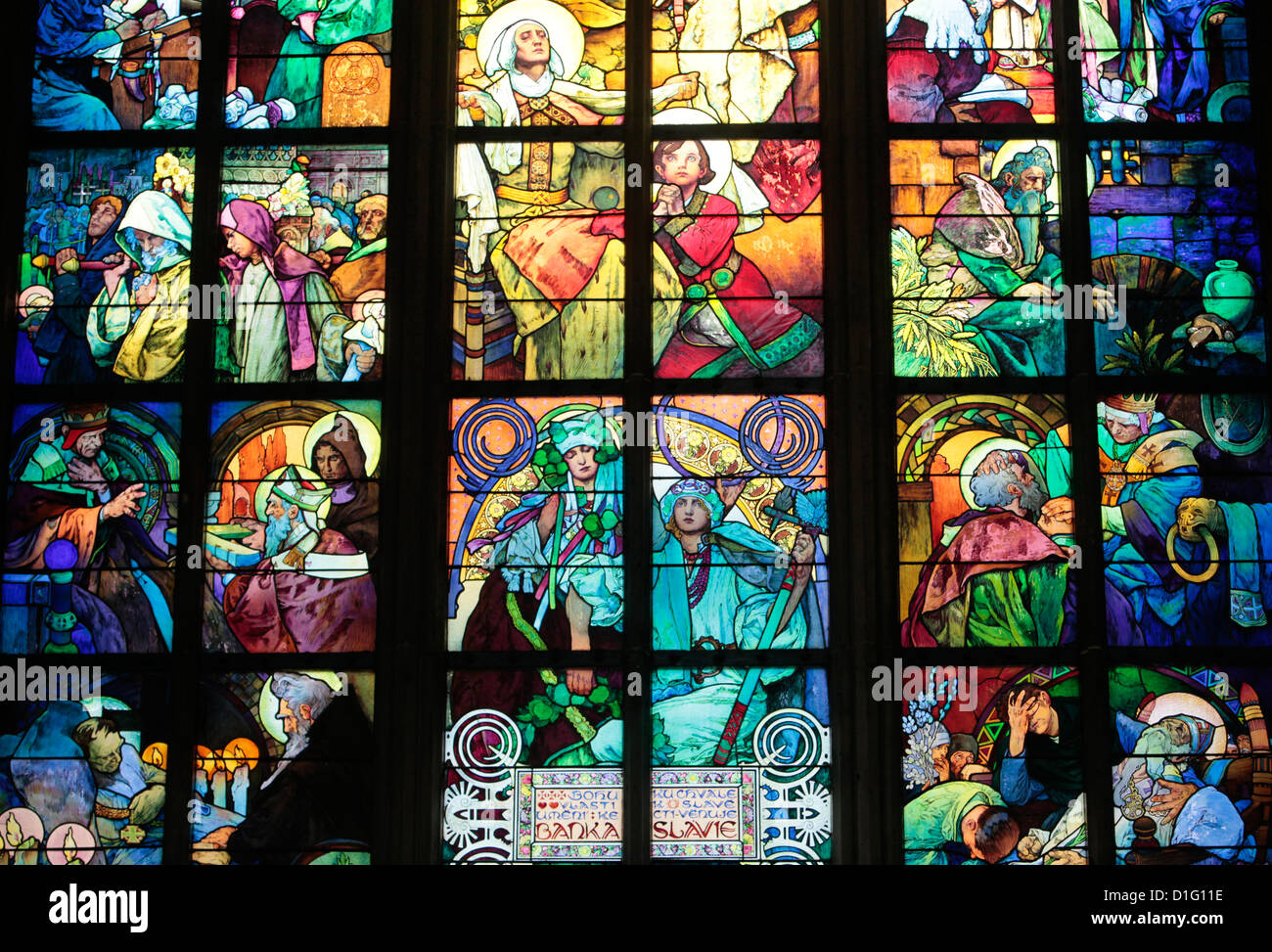 St. Vitus's Cathedral. stained glass of St. Cyril and Methodius by Alfons Mucha, Prague, Czech Republic, Europe - Stock Image