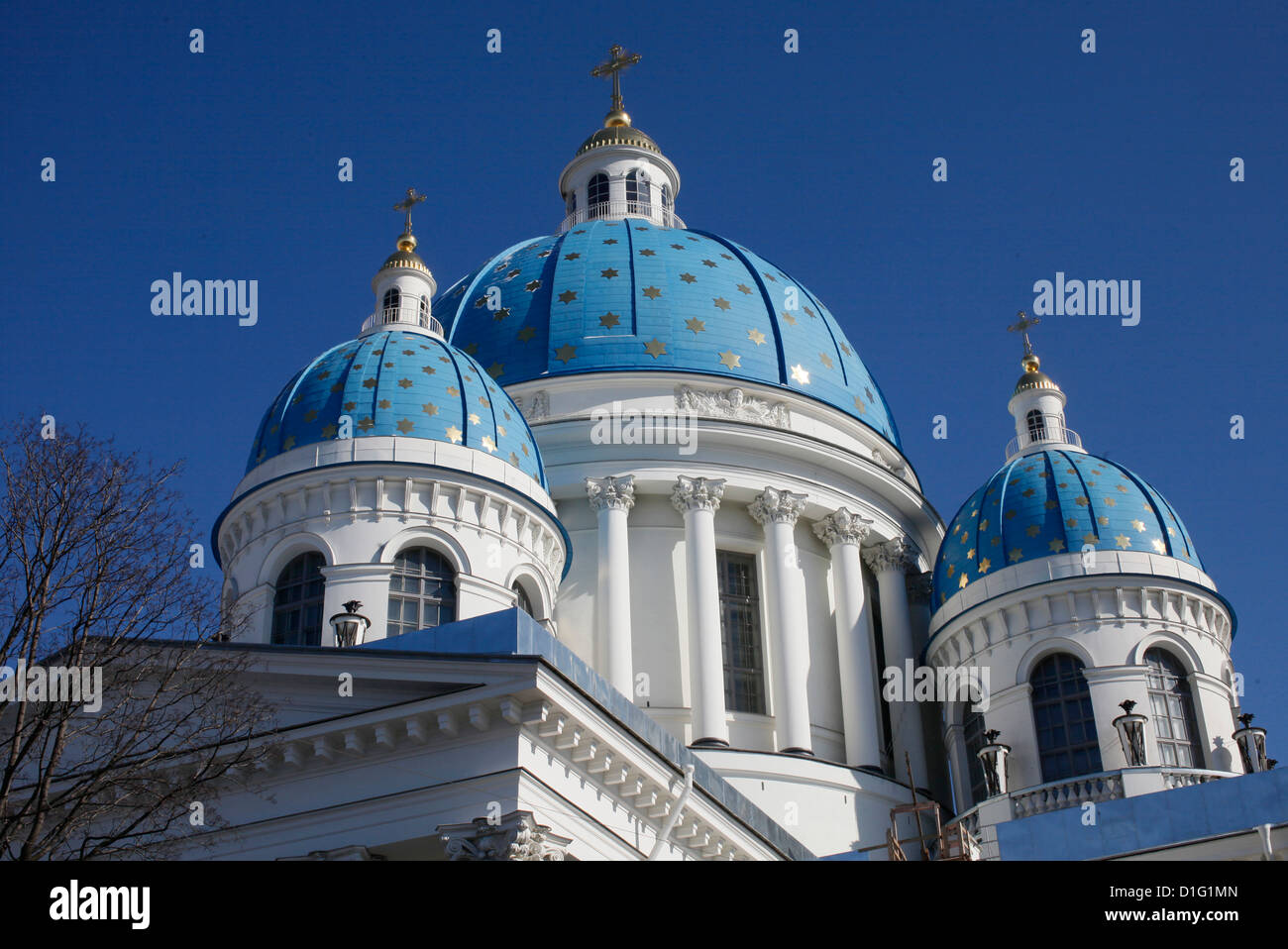 Blue cupolas emblazoned with golden stars, Trinity Cathedral, St. Petersburg, Russia, Europe - Stock Image