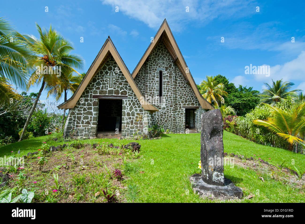 Stone church on Kvato island, Papua New Guinea, Pacific - Stock Image