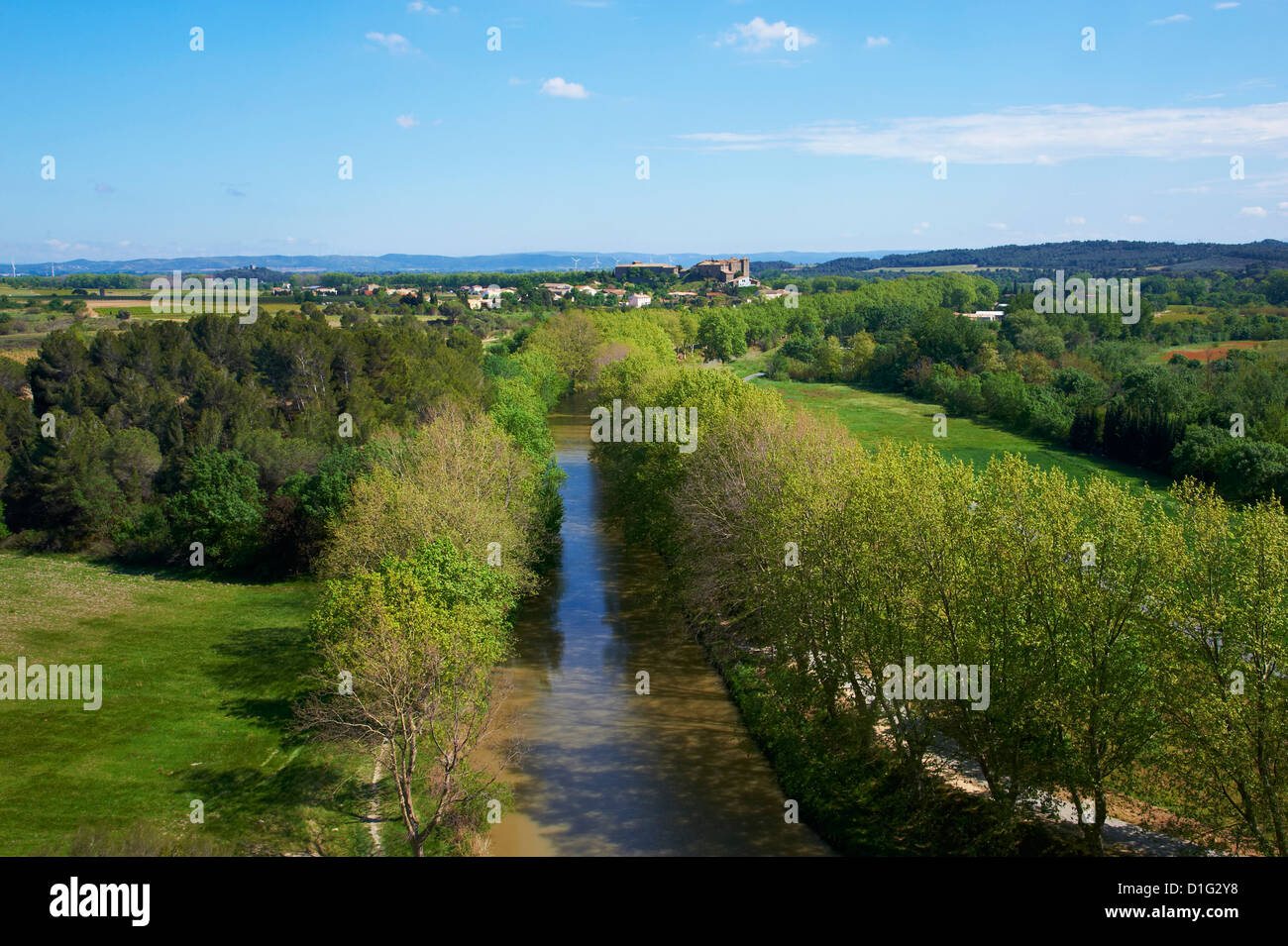 Argens Minervois village, Navigation on the Canal du Midi, Aude, Languedoc Roussillon, France, Europe - Stock Image