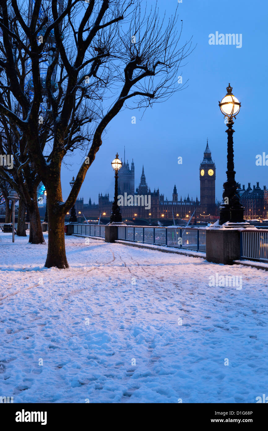 Houses of Parliament and South Bank in winter, London, England, United Kingdom, Europe - Stock Image