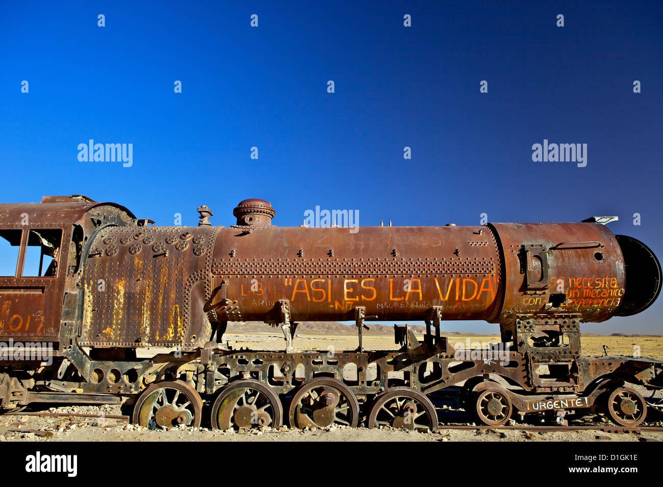 Rusting old steam locomotive at the Train cemetery (train graveyard), Uyuni, Southwest, Bolivia, South America - Stock Image