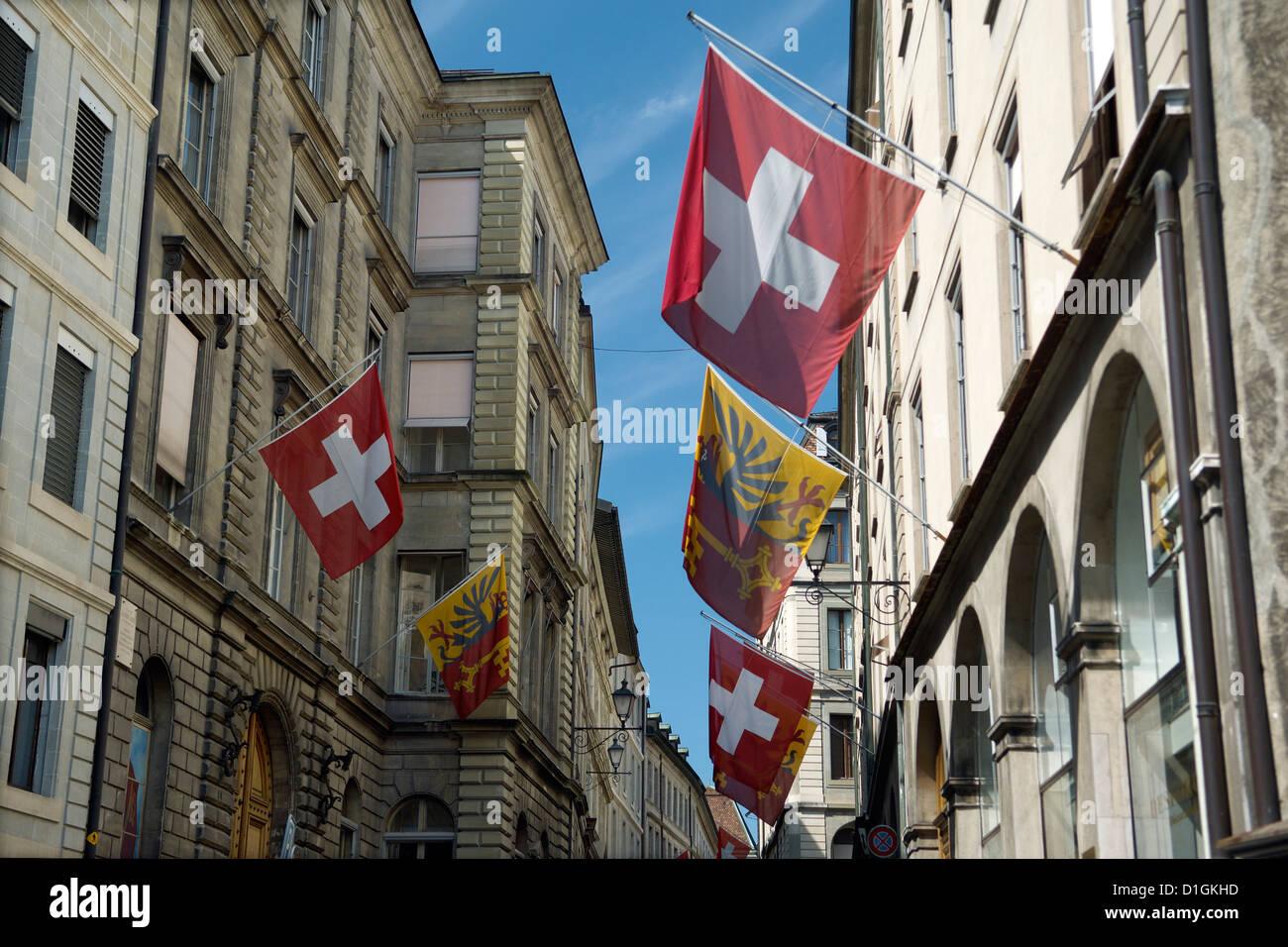 Street scenes in Geneva old Town, Geneva, Switzerland, Europe - Stock Image