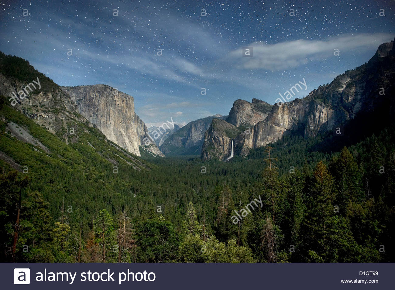 Yosemite Valley and night sky with stars, Yosemite National Park, Yosemite, California, United States of America, - Stock Image