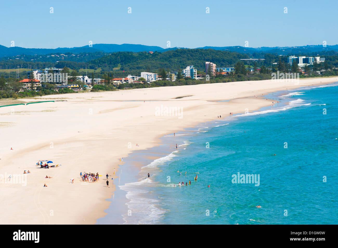 Surf school on Coolangatta Beach, Gold Coast, Queensland, Australia, Pacific - Stock Image