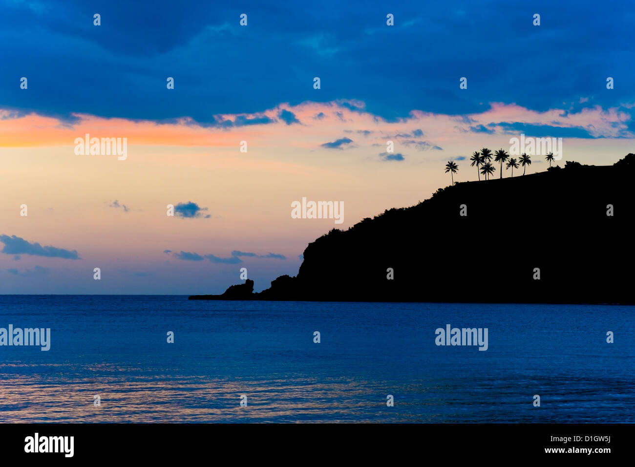 Silhouette of palm trees on a cliff at sunset, Nippah Beach, Lombok, Indonesia, Southeast Asia, Asia - Stock Image