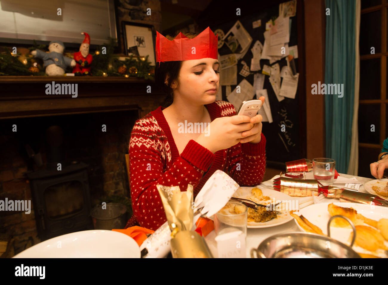 Christmas Day, 25 December 2012, A 14 year old teenage girl texting ...
