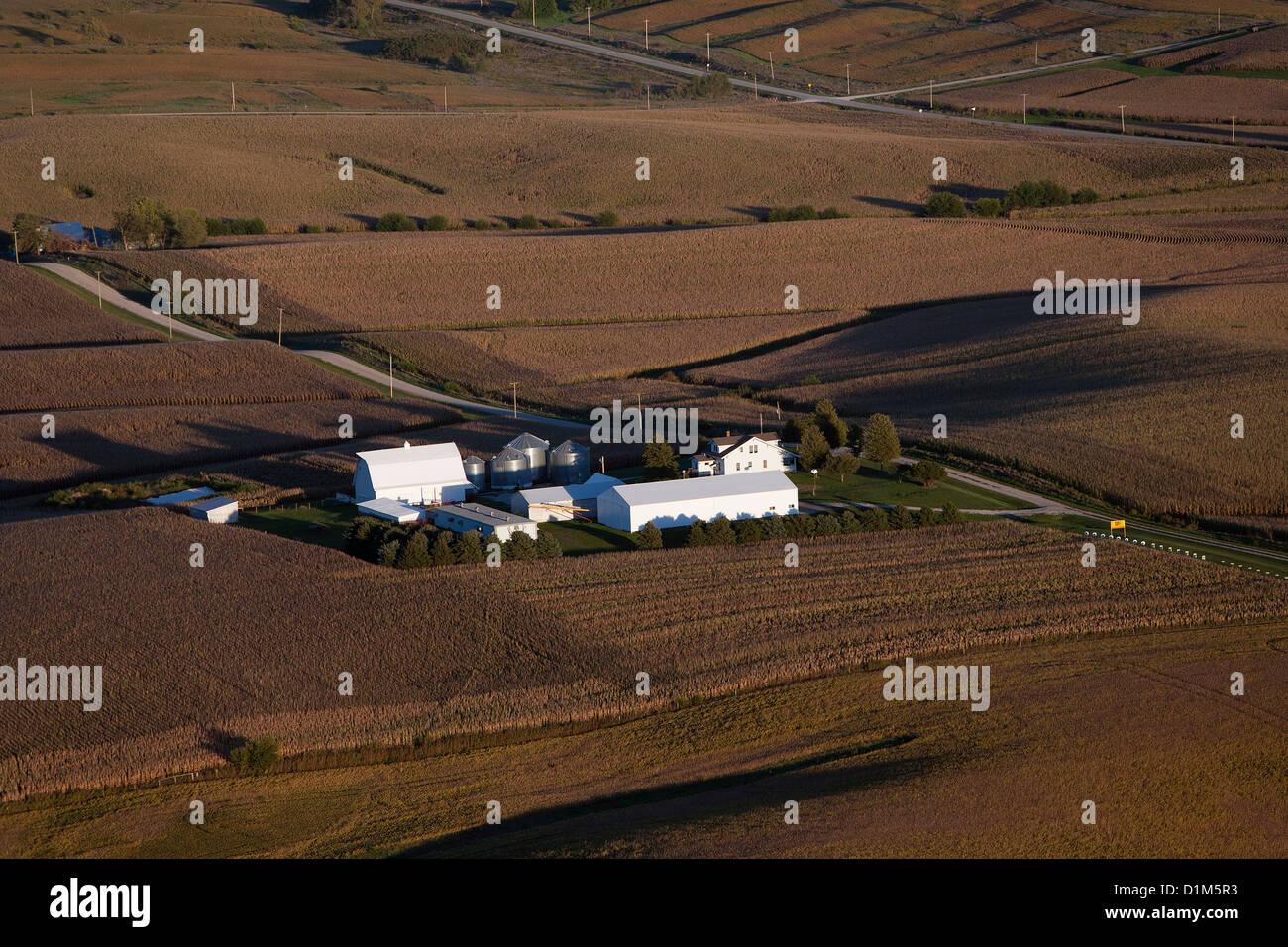 aerial photograph farm eastern Iowa near Iowa City - Stock Image