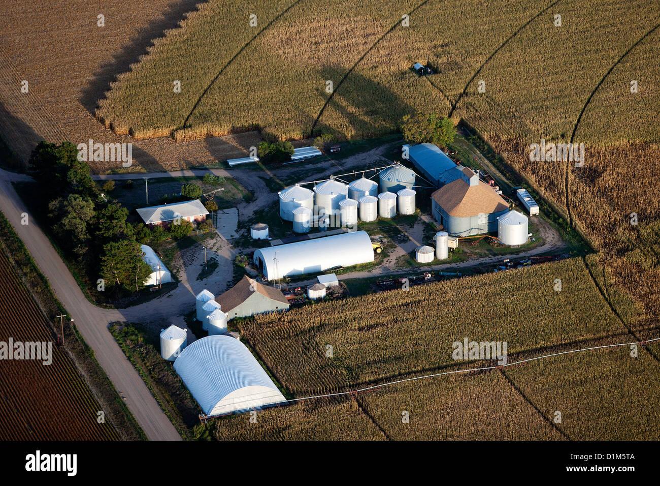 aerial photograph grain storage bins silos Iowa - Stock Image
