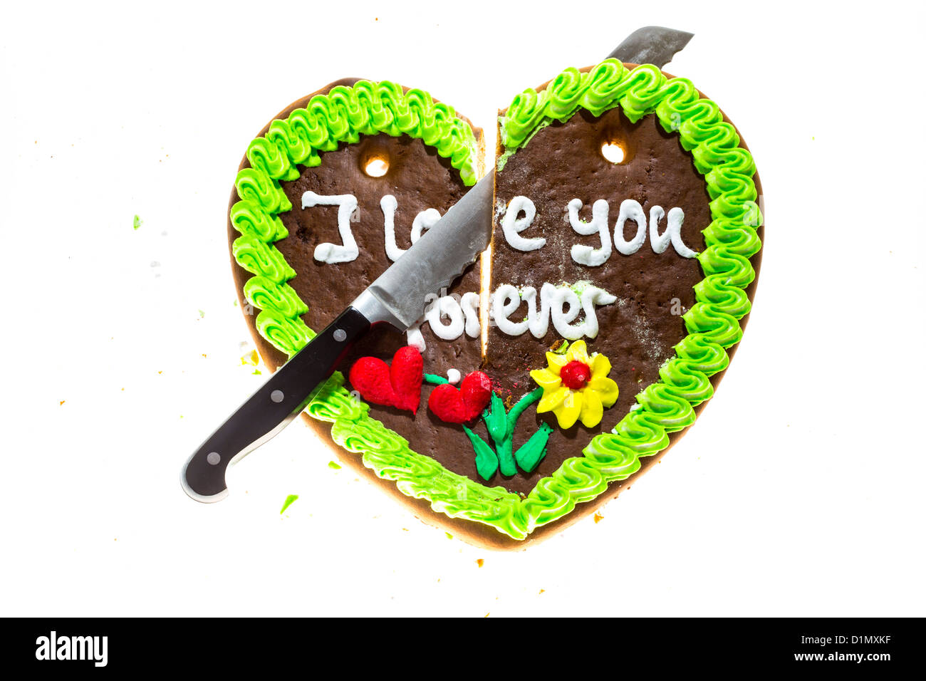Gingerbread Heart Cut Into Two Pieces Symbol For Finished Love