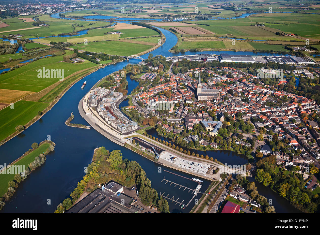 The Netherlands, Doesburg, Fortified city at IJssel river. Aerial. - Stock Image
