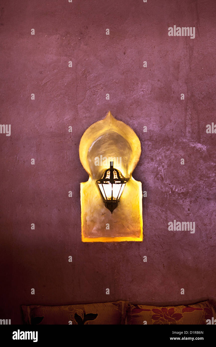 Morocco, M'Hamid el Ghizlane, Hotel Azalay. lamp in restaurant. - Stock Image