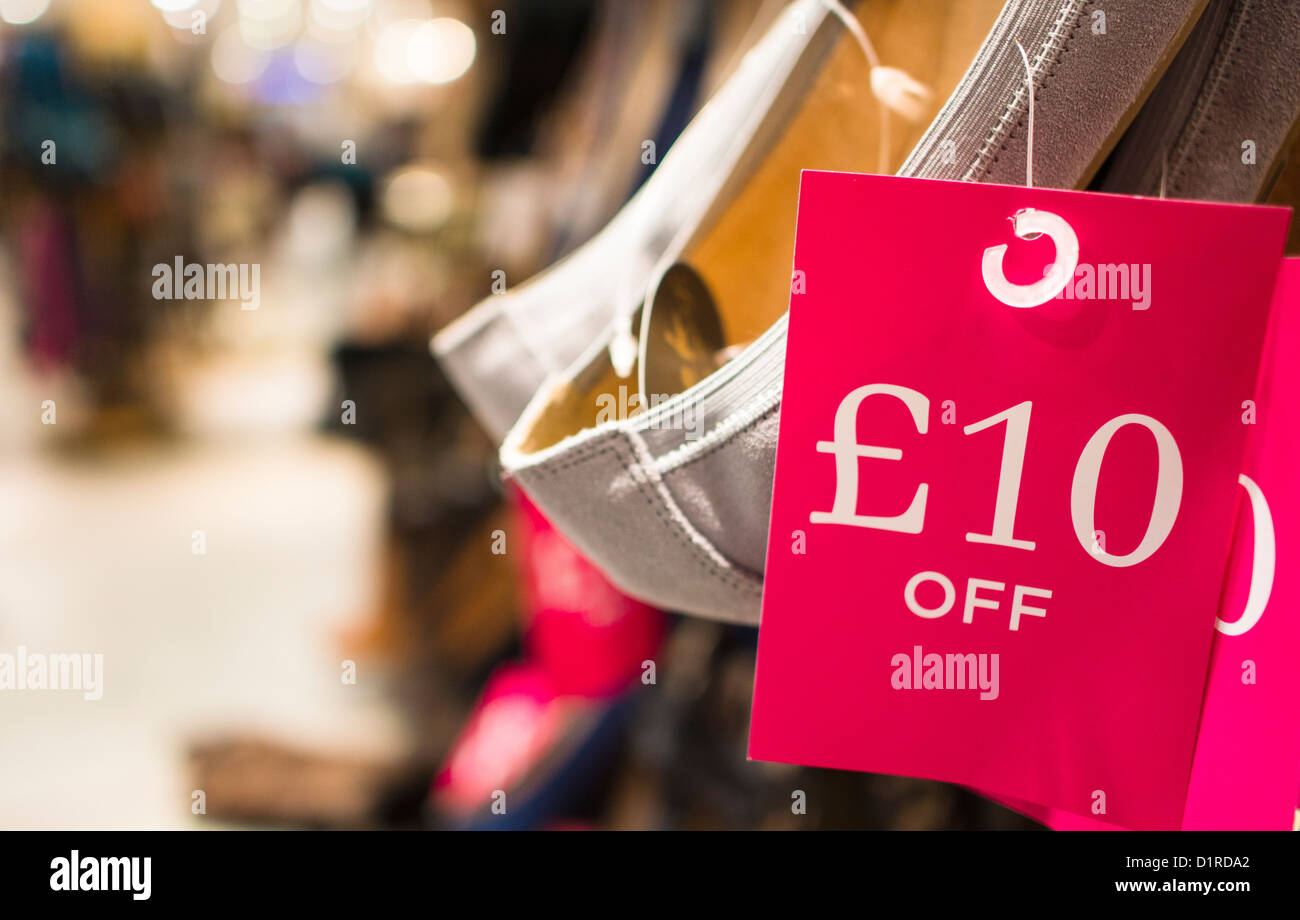 January sales at a retail shoe shop. - Stock Image