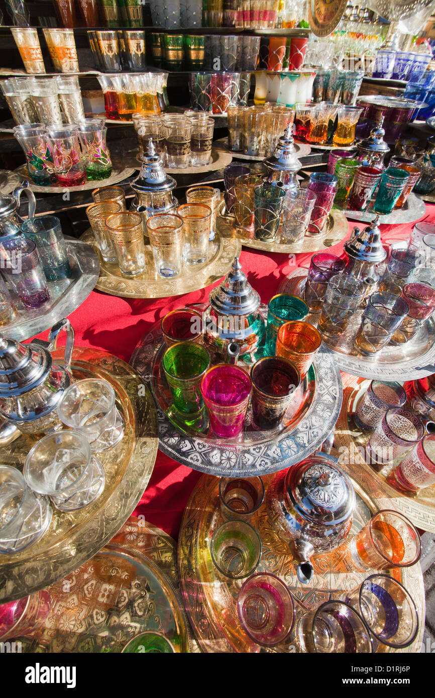 Morocco, Marrakech, Market. Teapots for sale. - Stock Image