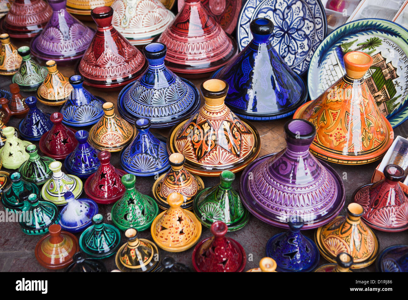 Morocco, Marrakech, Market. Tajine pottery for sale. - Stock Image