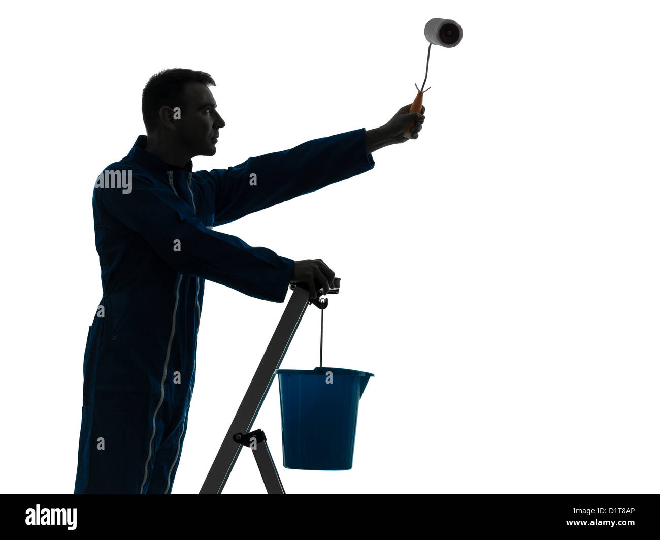 one  man house painter worker silhouette in studio on white background - Stock Image
