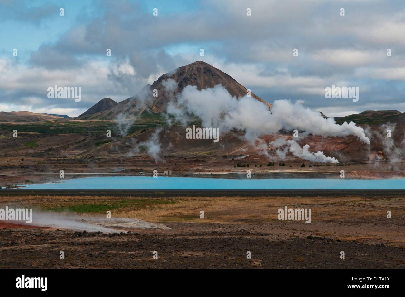 geothermal power and volcanic landscape near Lake Myvatn, Iceland - Stock Image