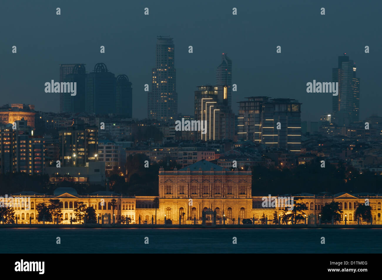 Dolmabahce Palace and Skylines in the backround,istanbul,Turkey - Stock Image