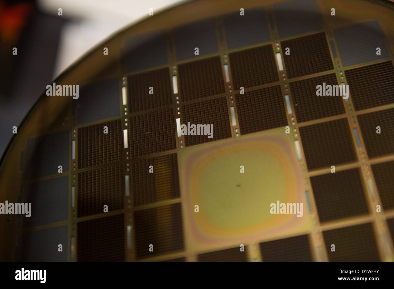 Las Vegas, US - 2013-01-06. Silicon oxide fuel cells on a wafer for Nectar's mobile power charger. - Stock Image