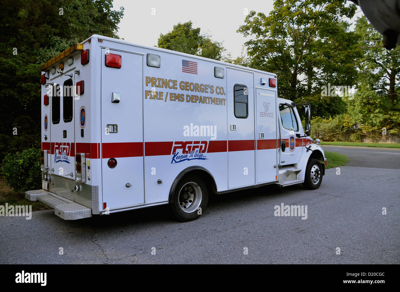 An ambulance from the Prince George's County Fire and Rescue Department - Stock Image