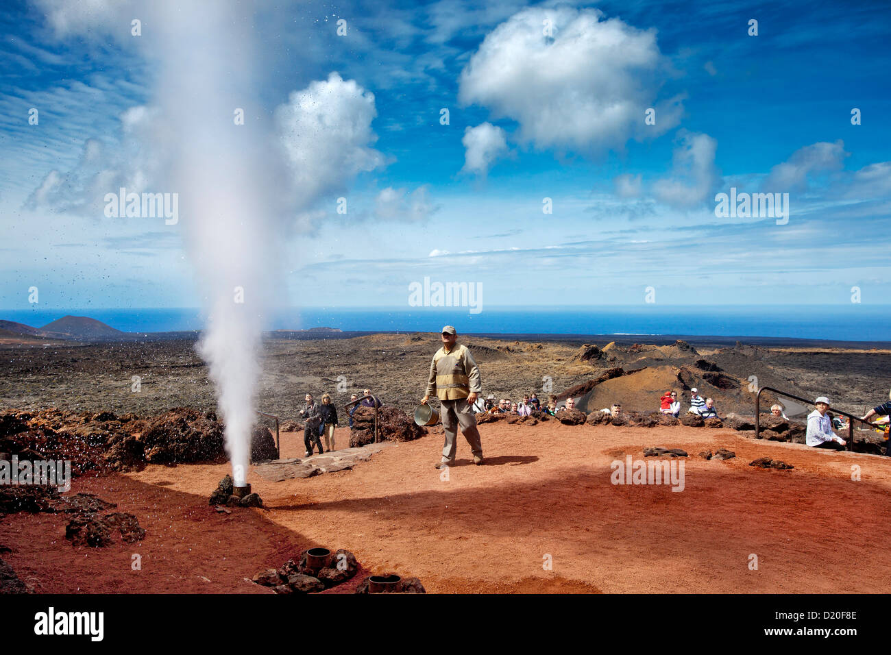Water explosion, Timanfaya National Park, Lanzarote, Canary Islands, Spain, Europe - Stock Image