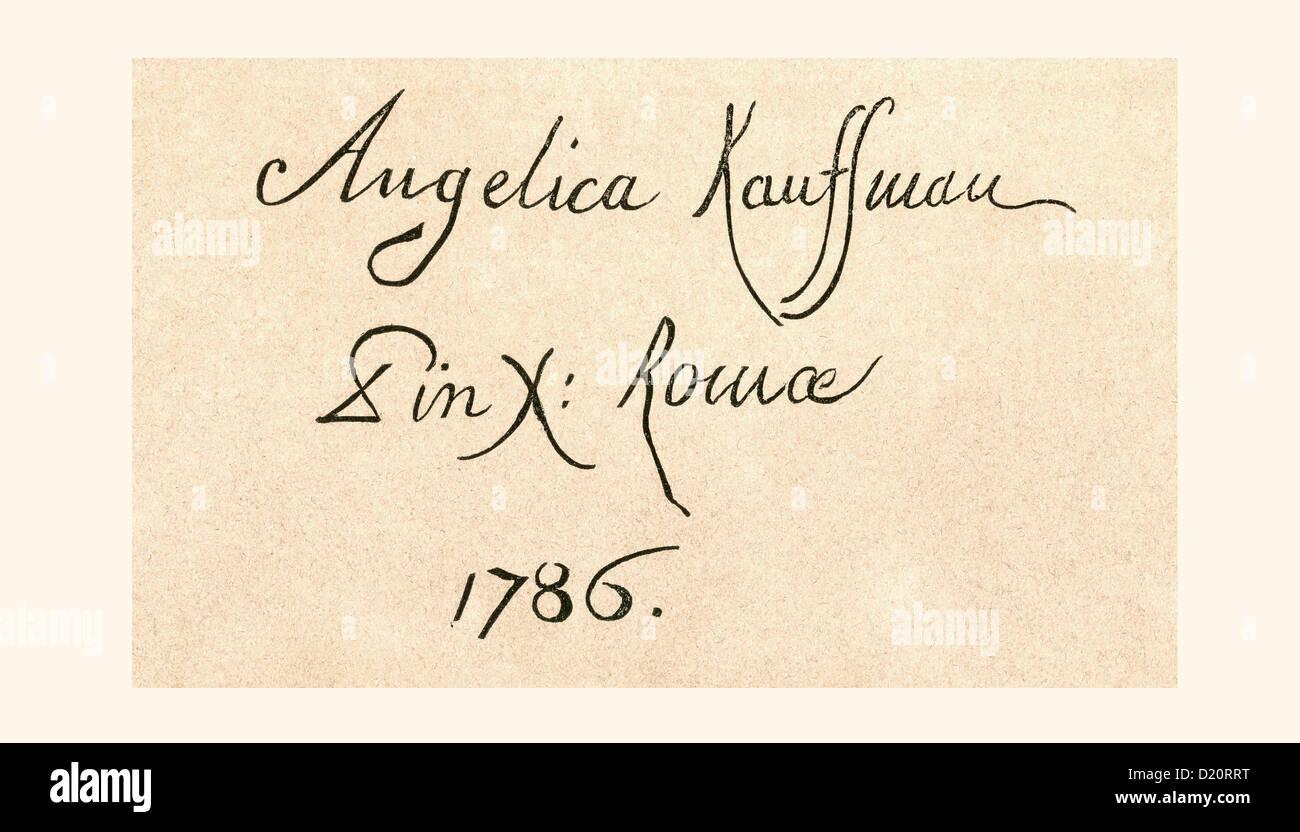 Signature of Maria Anna Angelika or Angelica Katharina Kauffman, 1741 –1807. Swiss-Austrian Neoclassical artist. - Stock Image