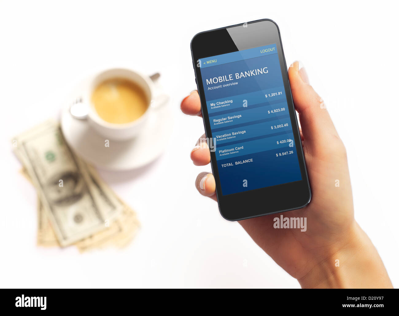 Smartphone with bank information on screen and coffee and dollar bills on the background - Stock Image