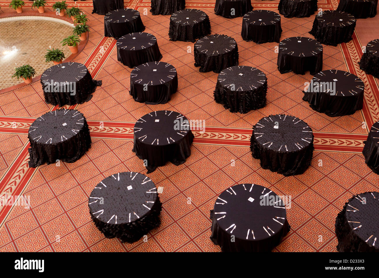 Large event dining tables - Stock Image
