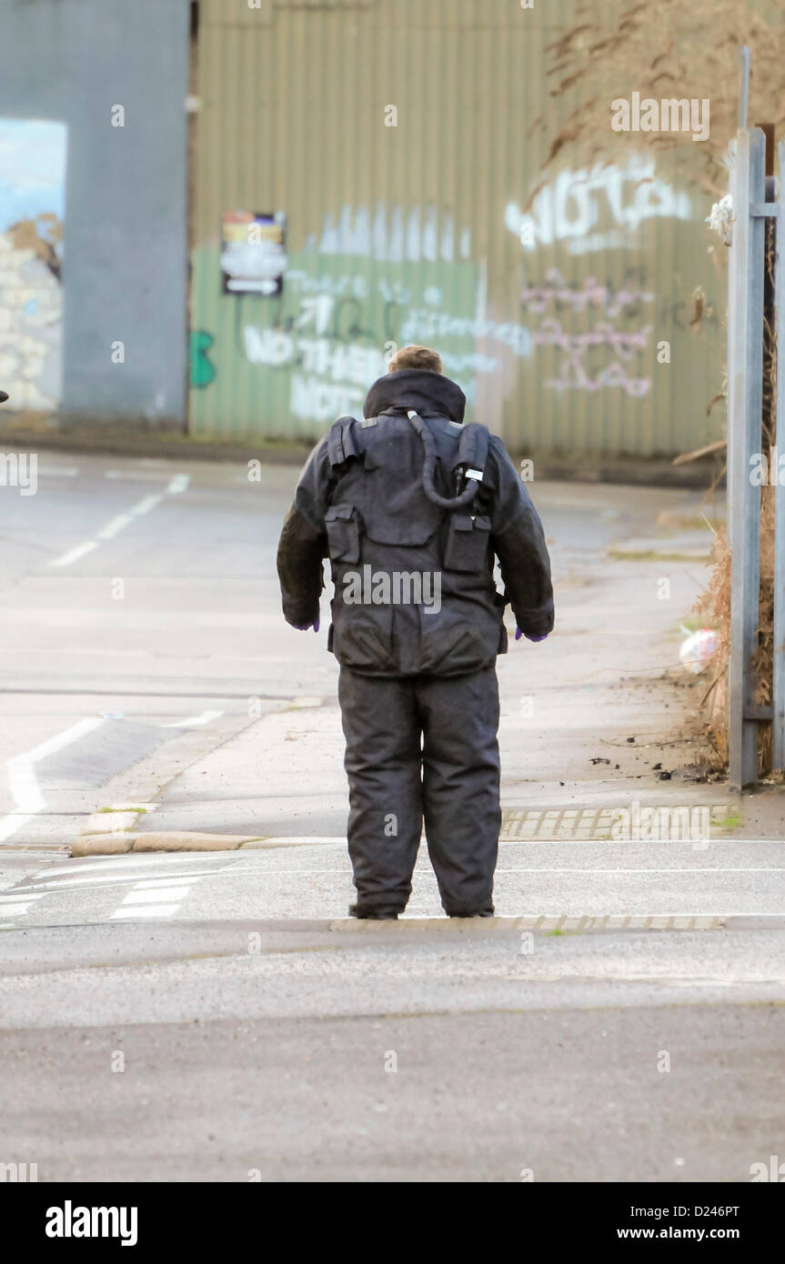 Belfast, Northern Ireland, UK. 14th January 2013.   ATO from the RLC EOD 11th Squadron (The Bomb Squad) wearing - Stock Image