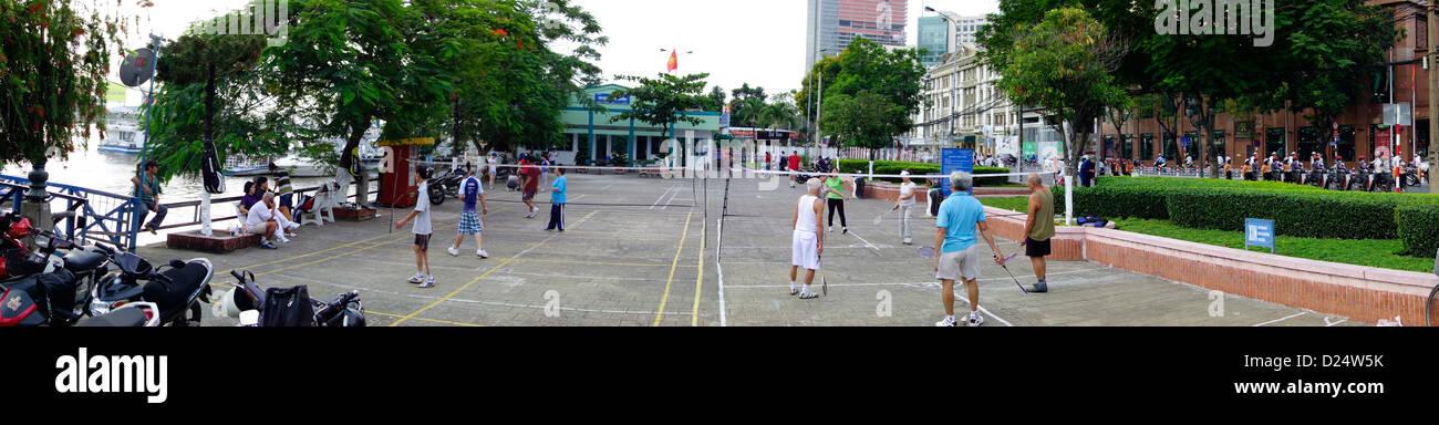early morning badminton ; Riverfront downtown; Ho Chi Minh City; Vietnam - Stock Image