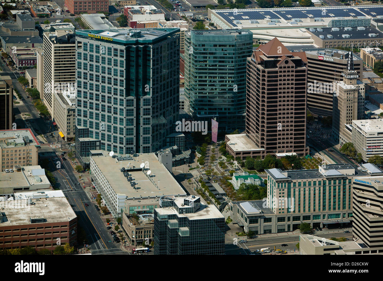 aerial photograph downtown office towers, Salt Lake City, Utah - Stock Image