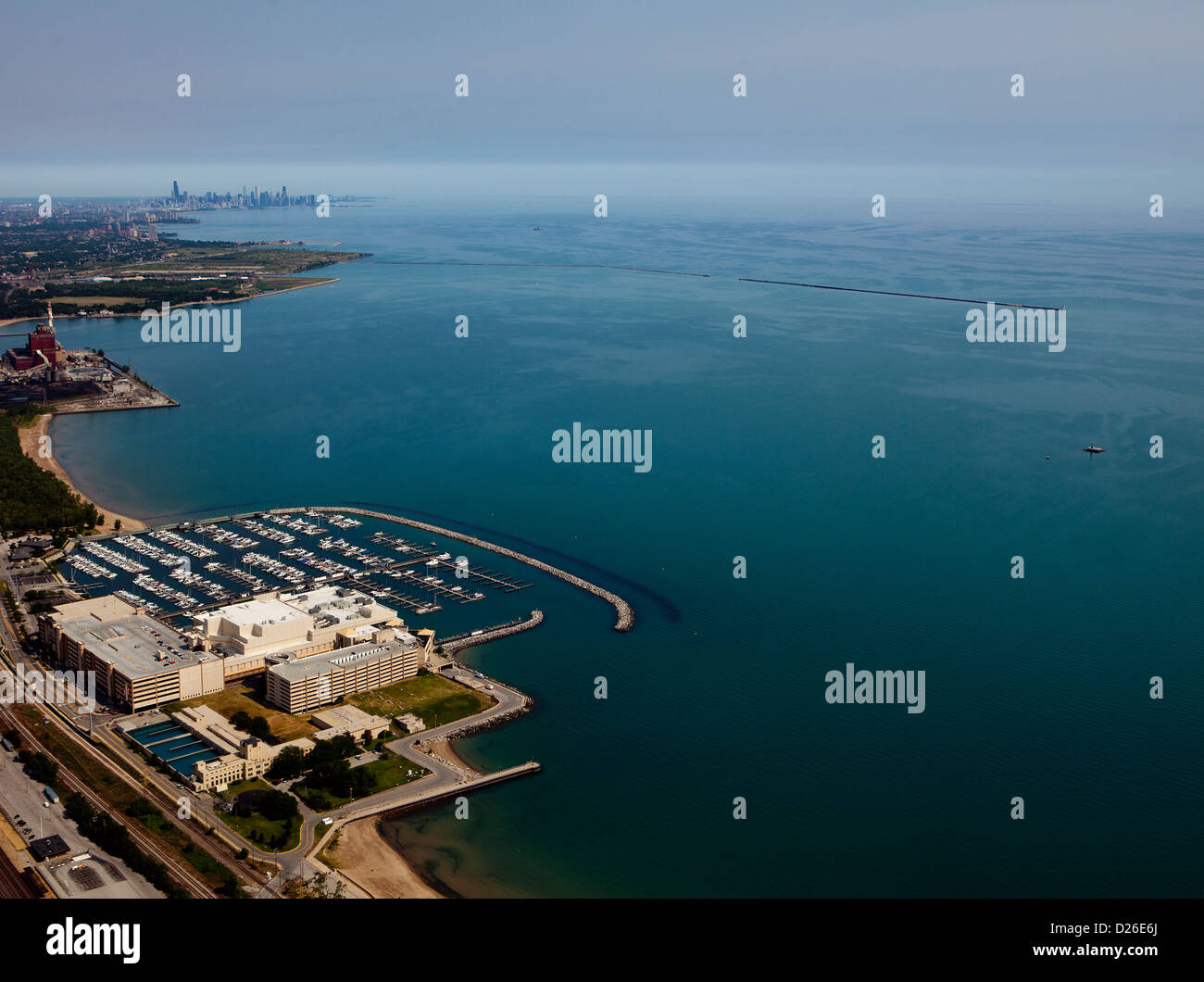 aerial photograph Horseshoe Hammond Casino, Hammond, Indiana toward Chicago skyline - Stock Image